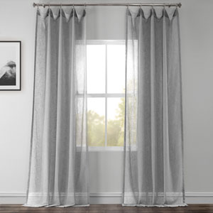 Nickel Faux Linen Sheer Single Panel Curtain Panel, 50 X 96
