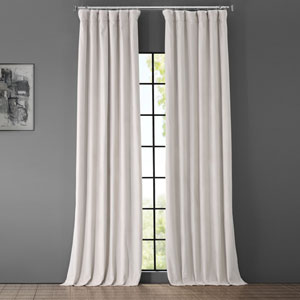 Porcelain White Blackout Velvet Pole Pocket Single Panel Curtain, 50 X 108