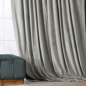 Signature Silver Grey Blackout Velvet Pole Pocket Single Panel Curtain, 50 X 120