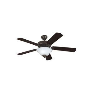 Quality Max Plus Heirloom Bronze Energy Star Two-Light LED Ceiling Fan with Cerused Oak and Ebony Blades