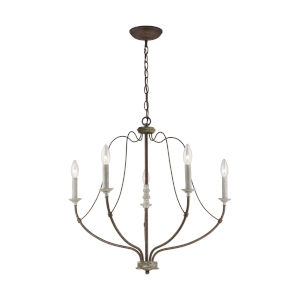 Nadia  Distressed White Wood Five-Light Chandelier