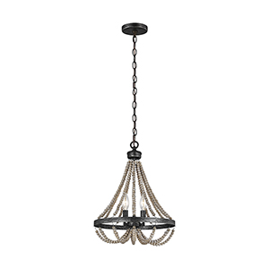 Oglesby Washed Pine Two-Light Chandelier