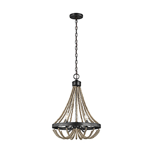 Oglesby Washed Pine Three-Light Chandelier