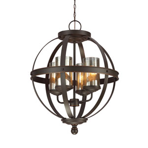 Sfera Autumn Bronze Energy Star 19-Inch Four-Light LED Chandelier with Mercury Glass