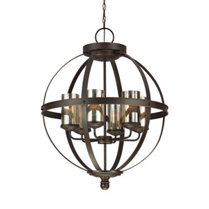 Sfera Autumn Bronze Energy Star 25-Inch Six-Light LED Chandelier with Mercury Glass
