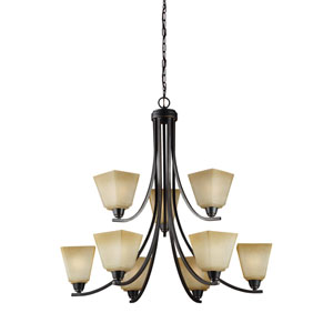 Parkfield Flemish Bronze Energy Star Nine-Light LED Chandelier