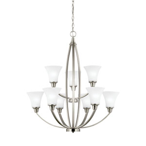 Metcalf Brushed Nickel Energy Star Nine-Light LED Chandelier
