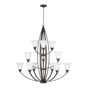 Metcalf Autumn Bronze 12-Light Chandelier with Satin Etched Shade Energy Star