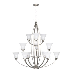Metcalf Brushed Nickel 12-Light Chandelier with Satin Etched Shade Energy Star