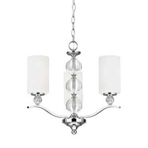 Englehorn Chrome Energy Star Three-Light LED Chandelier