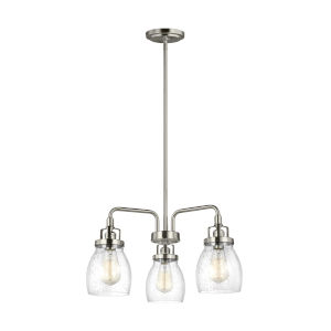 Belton Brushed Nickel Three-Light LED Chandelier with Seeded Glass