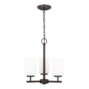 Oslo Burnt Sienna Three-Light Chandelier with Cased Opal Etched Shade