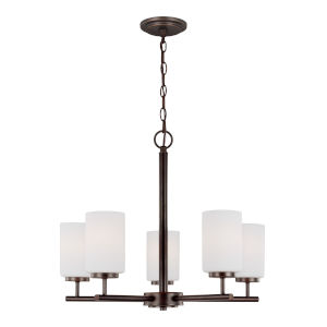 Oslo Burnt Sienna Five-Light Chandelier with Cased Opal Etched Shade