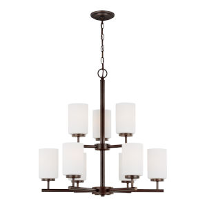 Oslo Burnt Sienna Nine-Light Chandelier with Cased Opal Etched Shade Energy Star