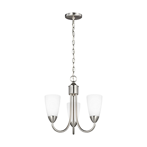 Seville Brushed Nickel 17-Inch Three-Light Chandelier
