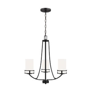 Robie Midnight Black Three-Light Chandelier with Etched White Inside Shade