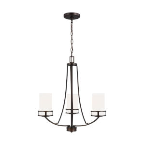 Robie Burnt Sienna Three-Light Chandelier with Etched White Inside Shade