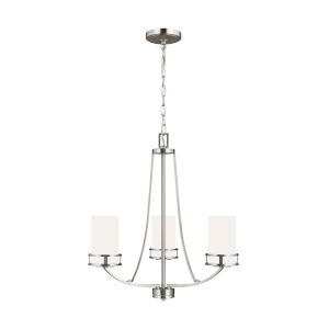 Robie Brushed Nickel Three-Light Chandelier with Etched White Inside Shade