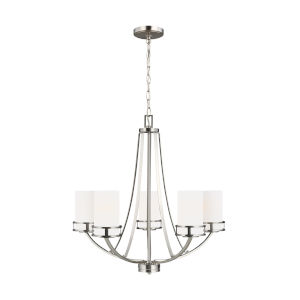 Robie Brushed Nickel Five-Light Chandelier with Etched White Inside Shade Energy Star