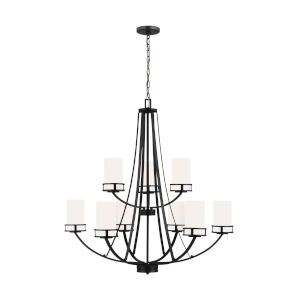 Robie Midnight Black Nine-Light Chandelier with Etched White Inside Shade