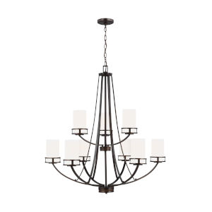Robie Burnt Sienna Nine-Light Chandelier with Etched White Inside Shade Energy Star