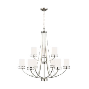 Robie Brushed Nickel Nine-Light Chandelier with Etched White Inside Shade Energy Star