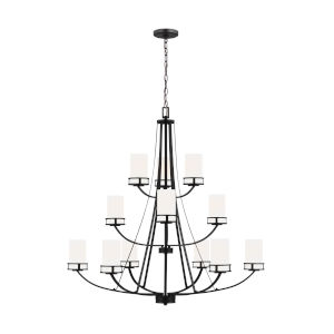 Robie Midnight Black 12-Light Chandelier with Etched White Inside Shade