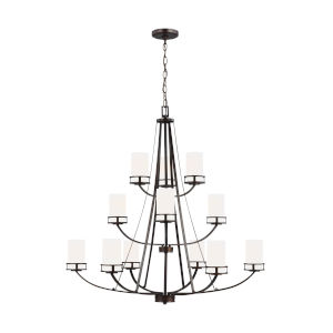 Robie Burnt Sienna 12-Light Chandelier with Etched White Inside Shade