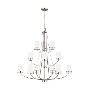 Robie Brushed Nickel 12-Light Chandelier with Etched White Inside Shade