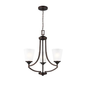 Hanford Burnt Sienna Three-Light Chandelier with Satin Etched Shade Energy Star