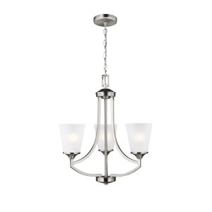 Hanford Brushed Nickel Three-Light Chandelier with Satin Etched Shade Energy Star