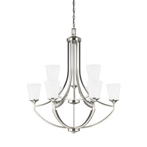Hanford Brushed Nickel Energy Star Nine-Light LED Chandelier