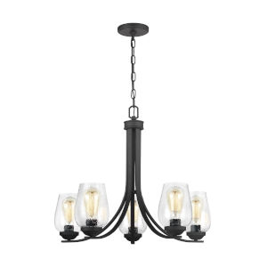 Morill Blacksmith Five-Light LED Chandelier with Seeded Glass