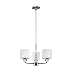 Canfield Brushed Nickel 20-Inch Three-Light Chandelier