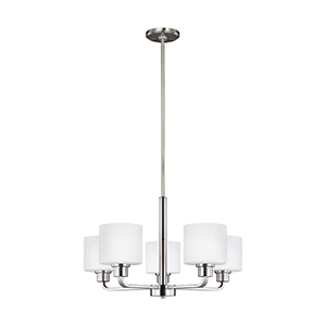 Canfield Brushed Nickel 24-Inch Five-Light Chandelier