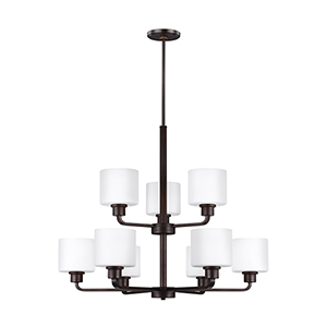Canfield Burnt Sienna Energy Star 31-Inch Nine-Light Chandelier