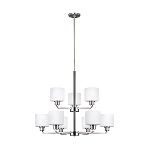 Canfield Brushed Nickel Energy Star 31-Inch Nine-Light Chandelier