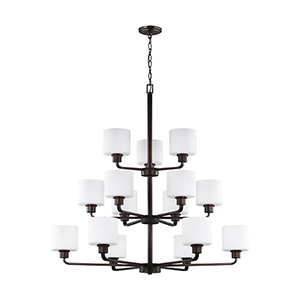 Canfield Burnt Sienna 40-Inch 15-Light Chandelier