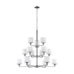 Canfield Brushed Nickel 40-Inch 15-Light Chandelier