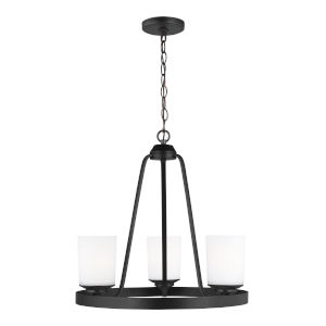 Kemal Midnight Black Three-Light Chandelier with Etched White Inside Shade