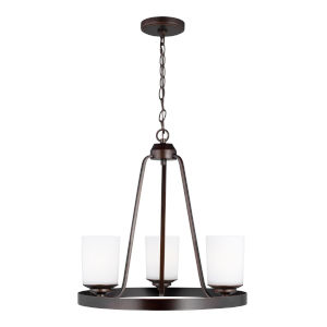 Kemal Bronze Three-Light Chandelier with Etched White Inside Shade