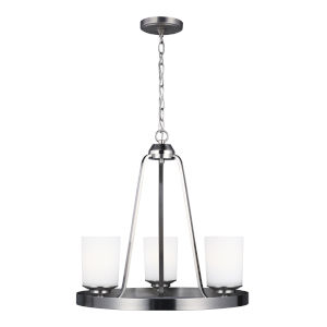 Kemal Brushed Nickel Three-Light Chandelier with Etched White Inside Shade Energy Star