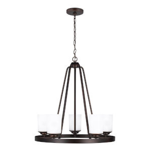 Kemal Burnt Sienna Five-Light Chandelier with Etched White Inside Shade Energy Star