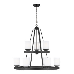 Kemal Midnight Black Nine-Light Chandelier with Etched White Inside Shade