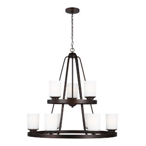Kemal Bronze Nine-Light Chandelier with Etched White Inside Shade