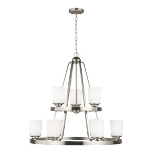 Kemal Brushed Nickel Nine-Light Chandelier with Etched White Inside Shade Energy Star