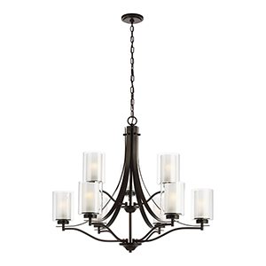 Elmwood Park Heirloom Bronze Nine-Light Chandelier