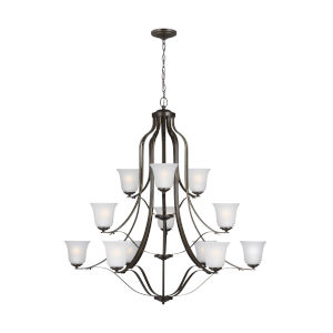 Emmons Heirloom Bronze 12-Light Chandelier with Satin Etched Shade
