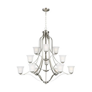Emmons Brushed Nickel 12-Light Chandelier with Satin Etched Shade