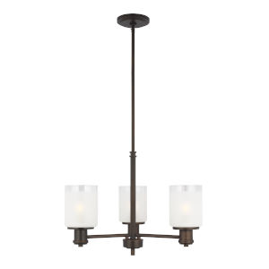 Norwood Burnt Sienna Three-Light Chandelier with Clear Highlighted Satin Etched Shade Energy Star